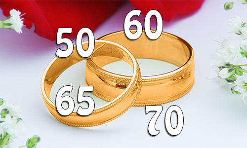 Célébrez vos noces d'or, de diamant, de palissandre ou de platine