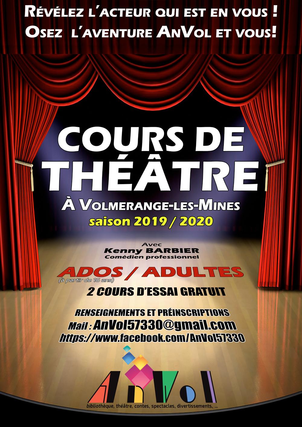 Affiche Cours Théâtre Adultes 2019 2020