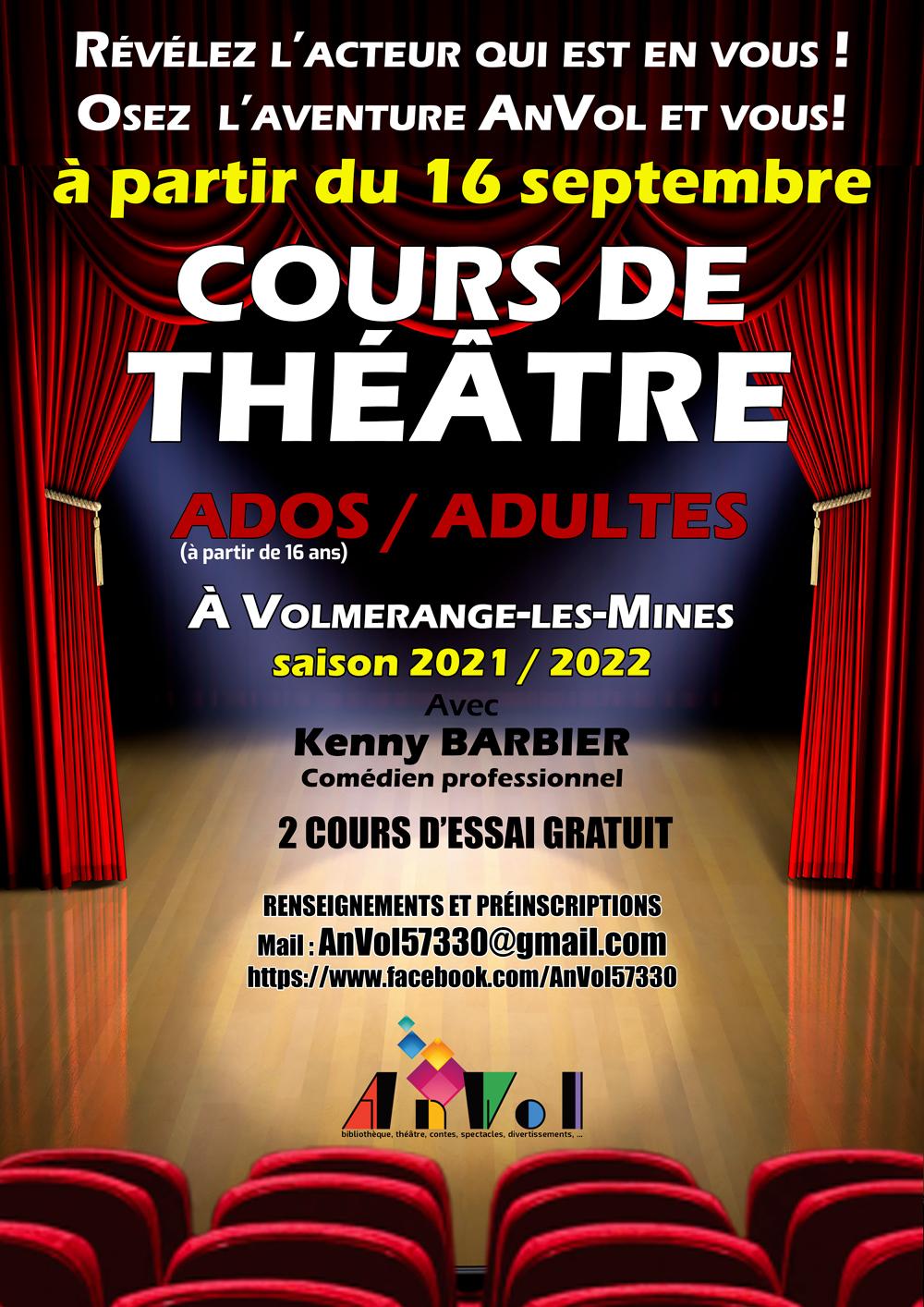 Affiche Cours Théâtre Adultes 2021 2022