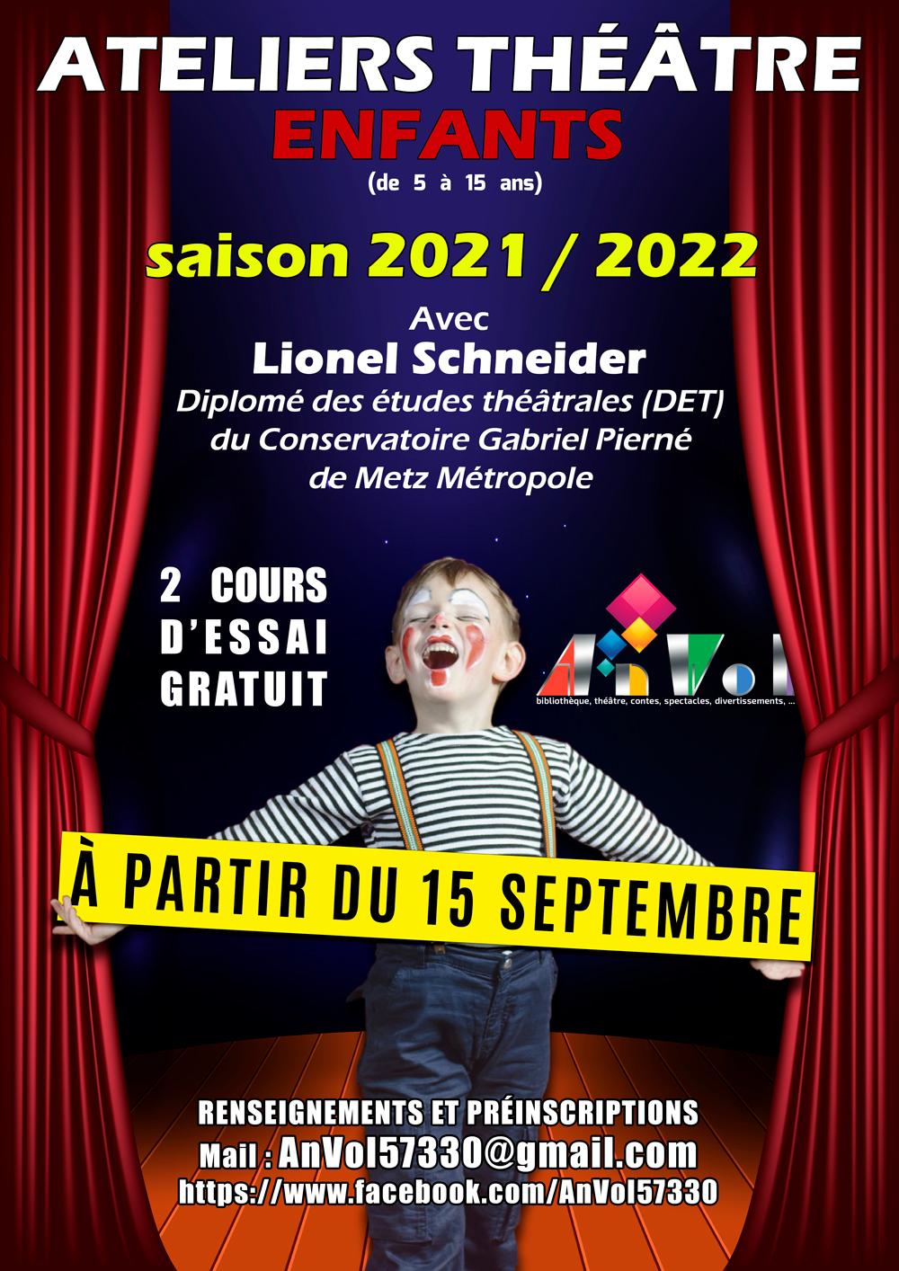 Affiche Ateliers Théâtre Enfants 2021 2022